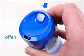 Trinkflasche mit Autoseal Verschlusstechnik - Die Trinköffnung öffnet sich bei Druck auf den Autoseal Knopf. Sofort nach Loslassen des Autoseal Knopfes verschließt die Trinkflasche wieder automatisch. Ein Verschütten ist damit praktisch nicht mehr möglich